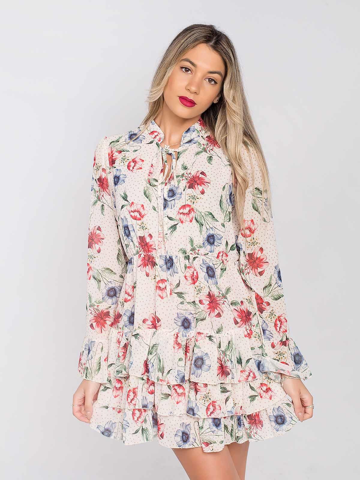 Vestido curto floral com folhos