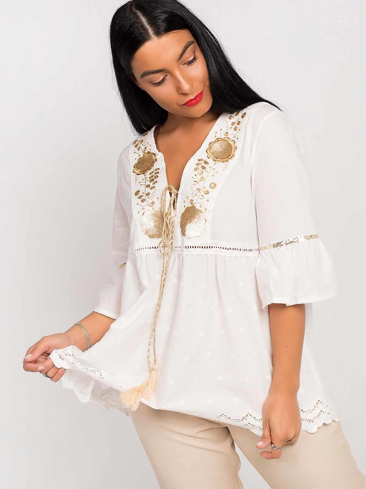 Blusa branca lantejoulas douradas