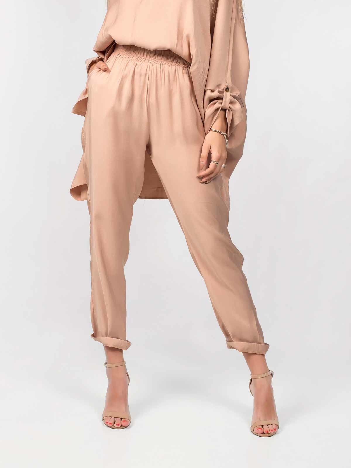 Pantalones anchos de tela de raso