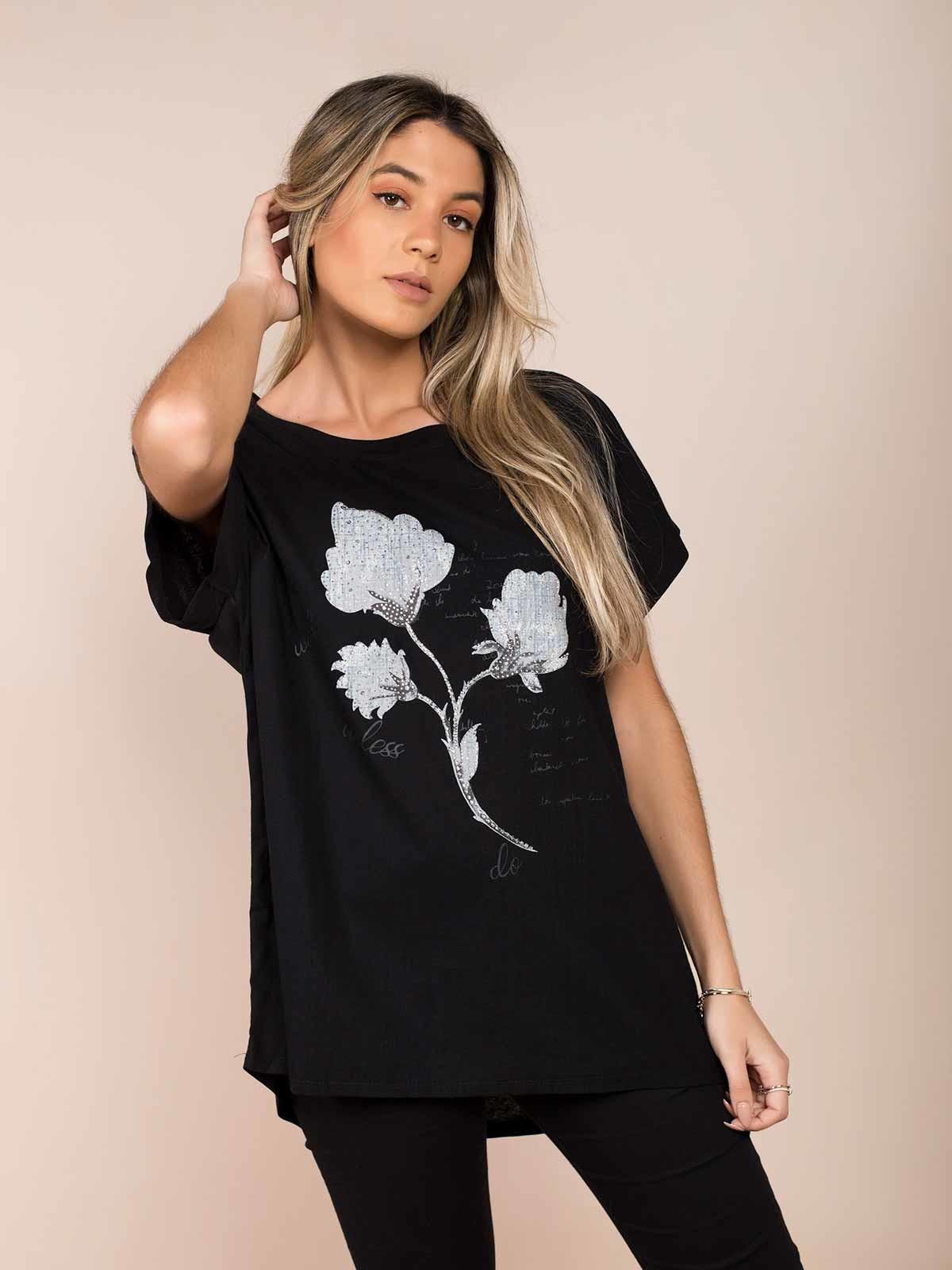 T-shirt linho flores brilhantes