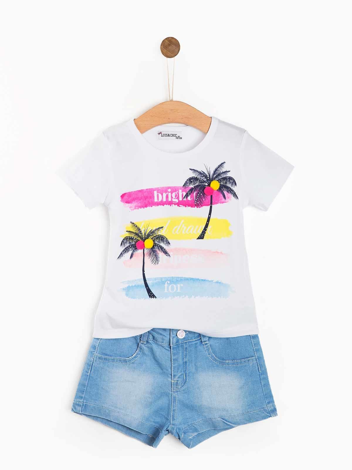 Contunto calções t-shirt com pompons
