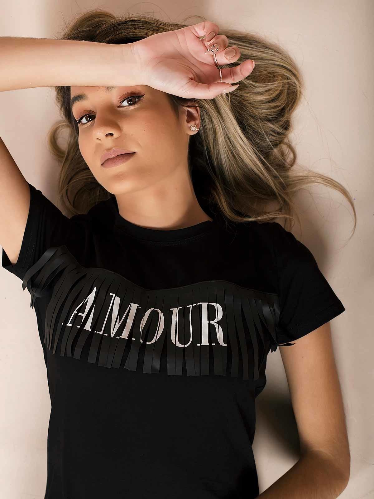 T-shirt preta Amour