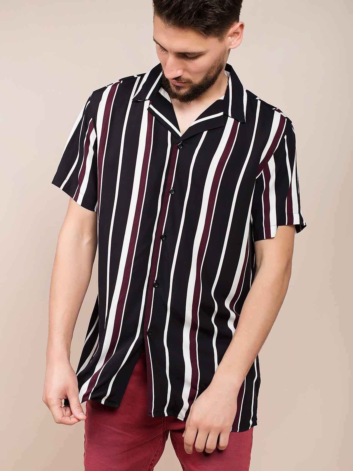 Camisa riscas preto e bordeaux