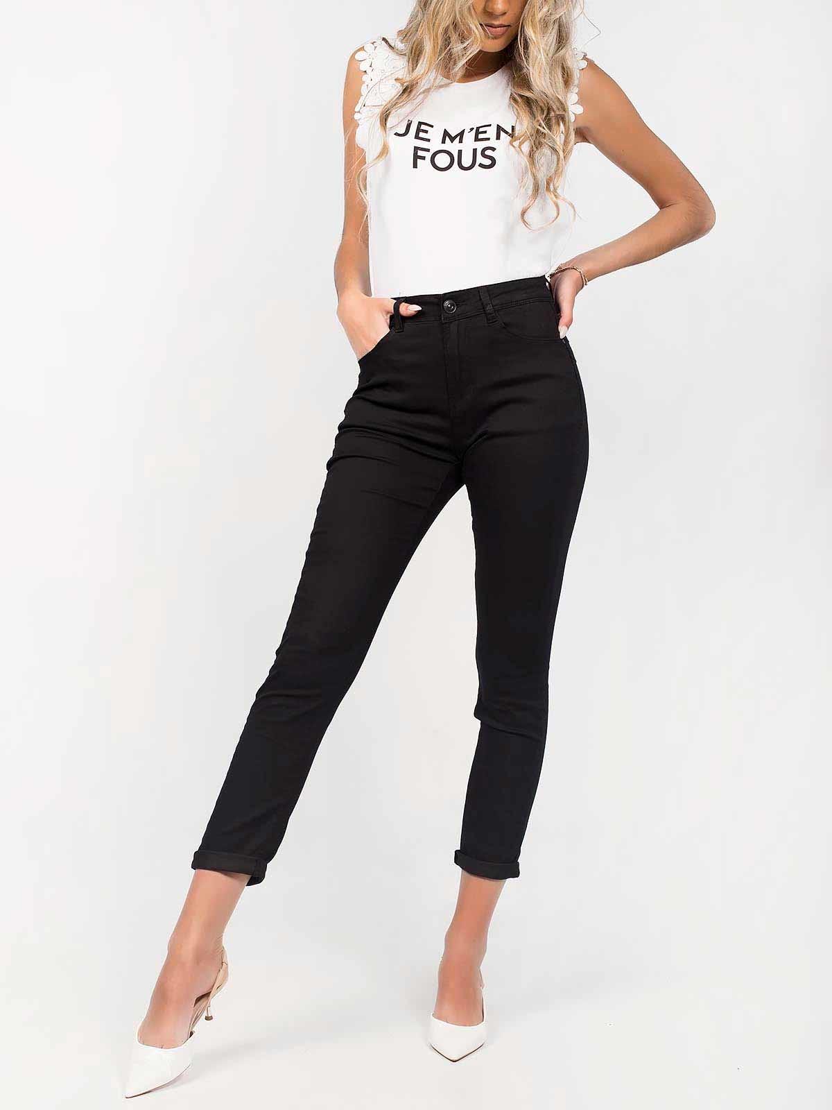 Calças ganga pretas cintura alta