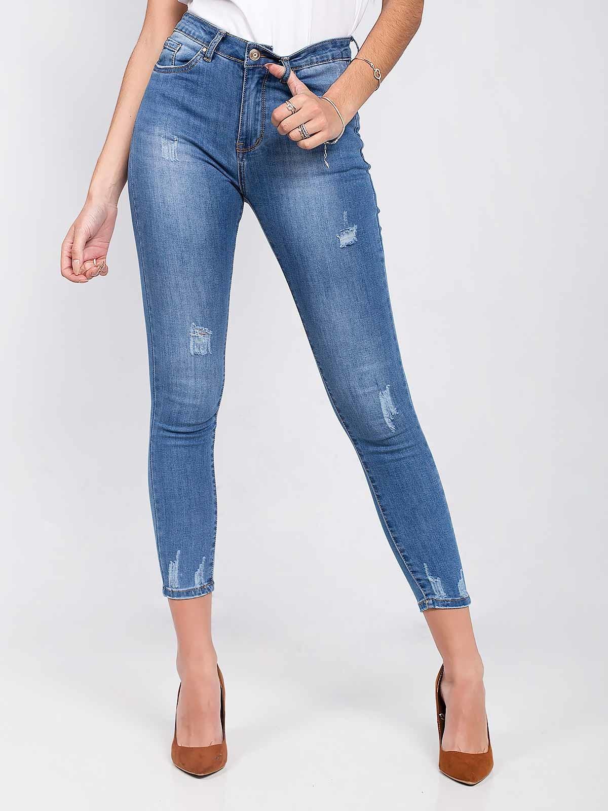 Calças ganga skinny jeans com rasgos