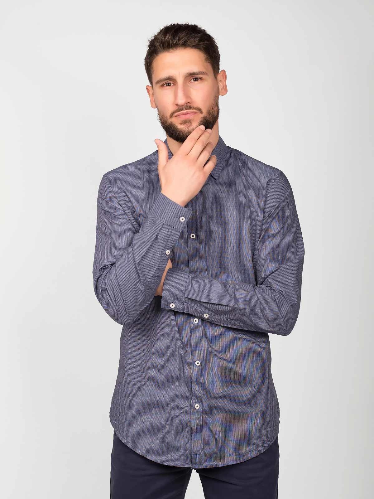 Camisa manga comprida riscas finas