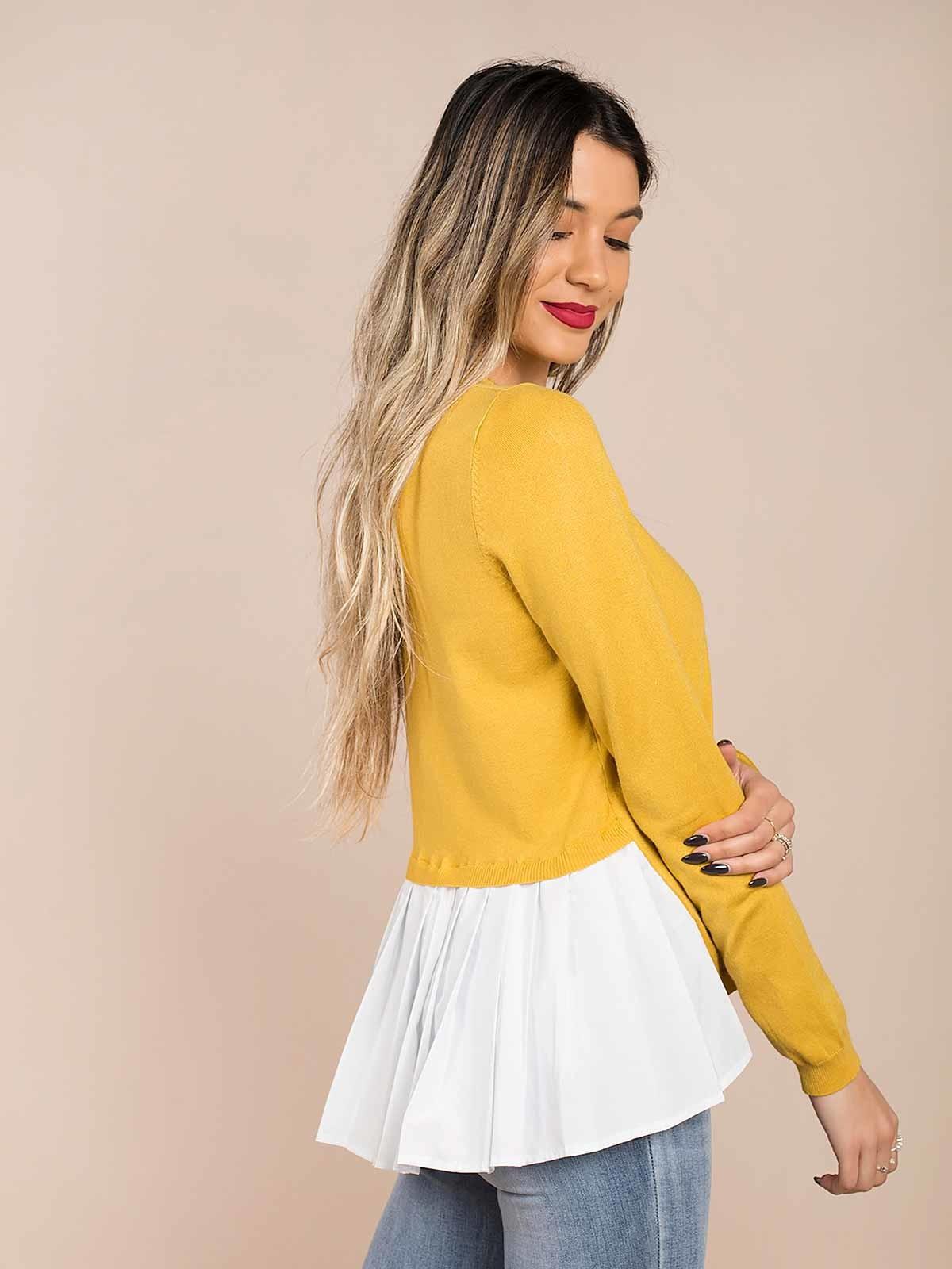 Jersey de punto con blusa plisada