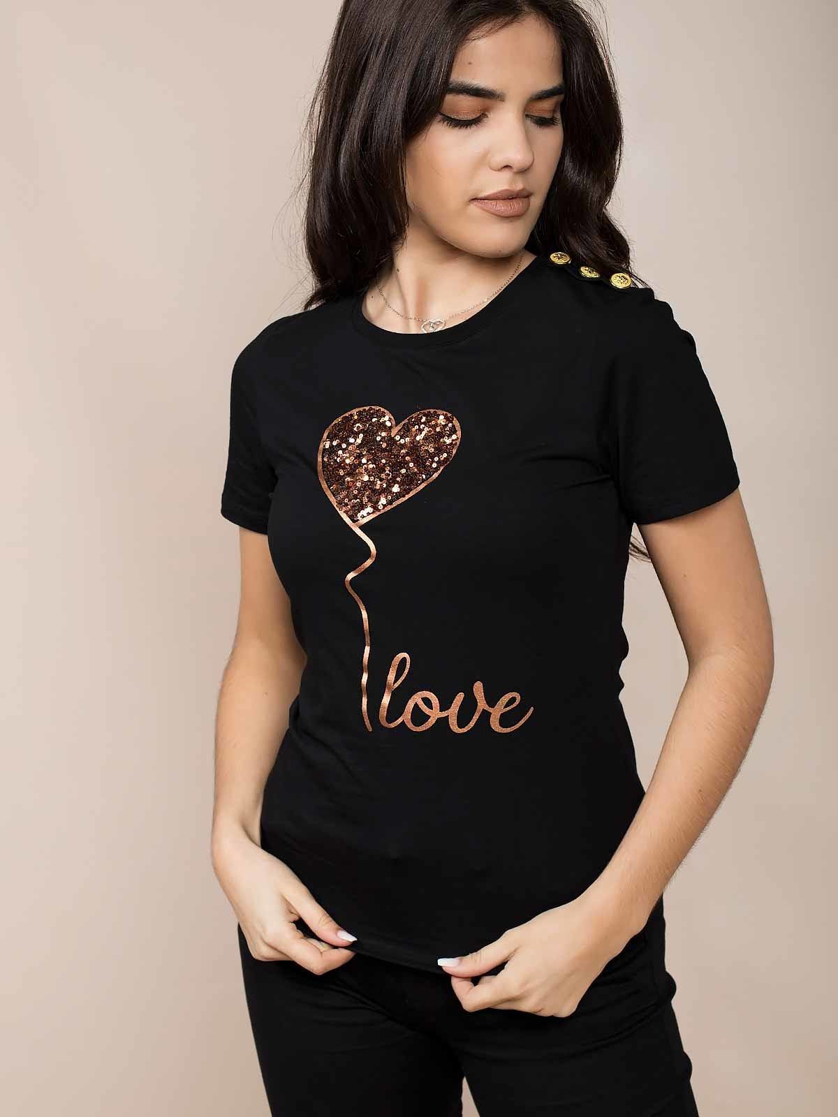 T-shirt lantejoulas Love