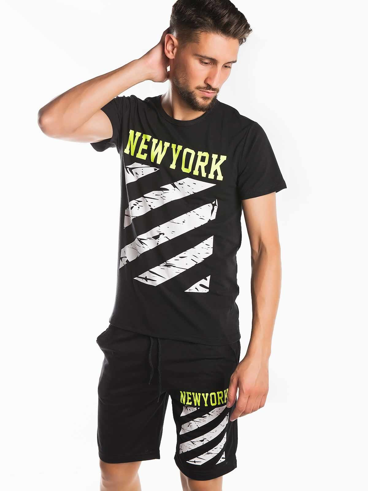 Camiseta con estampado de rayas NY