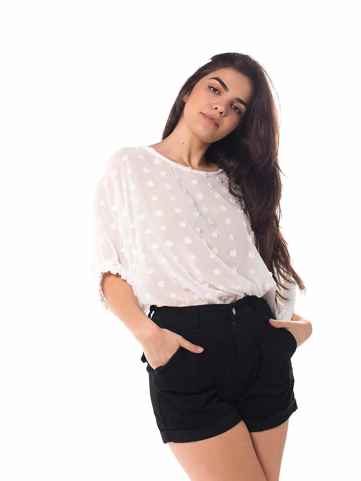 Blusa transparente com bolas