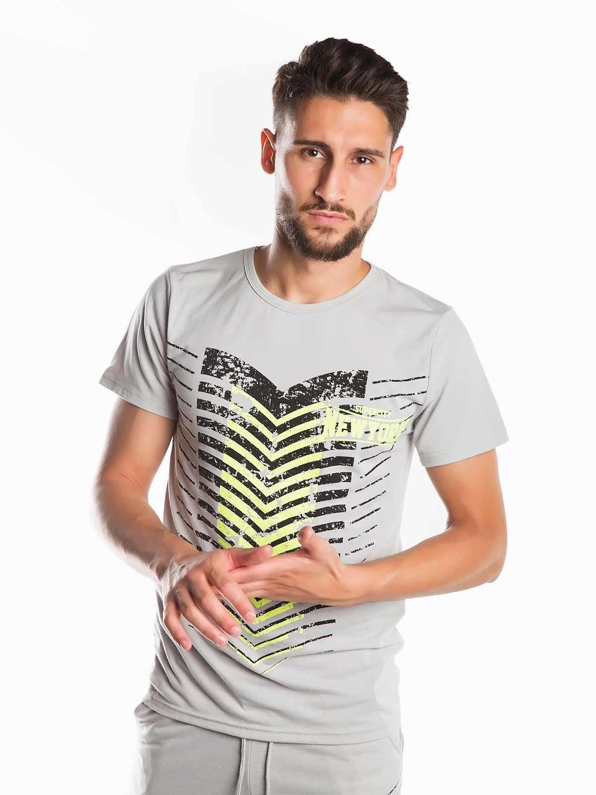 T-shirt riscas estampado NY