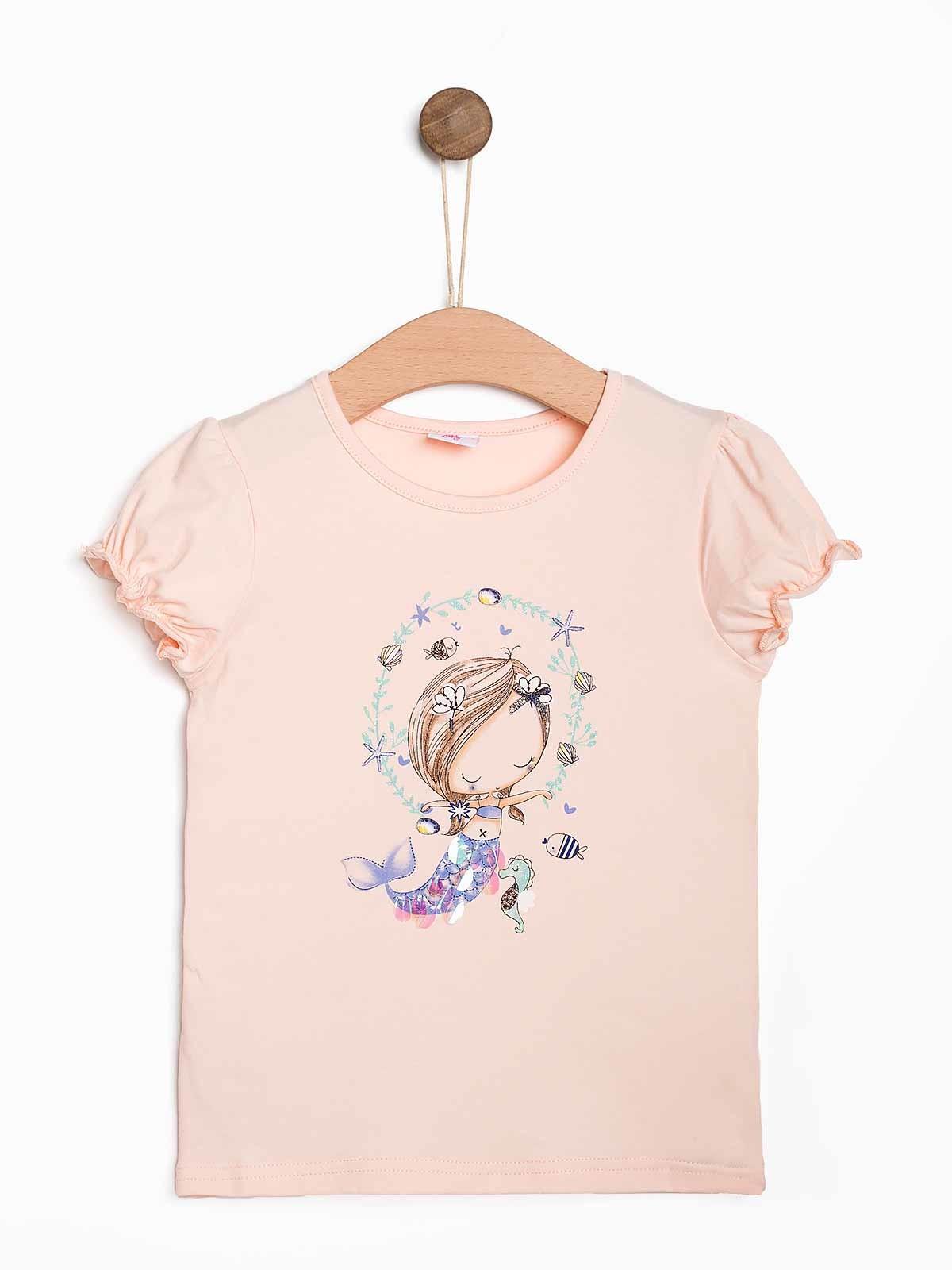T-shirt estampada bebé com lantejoulas