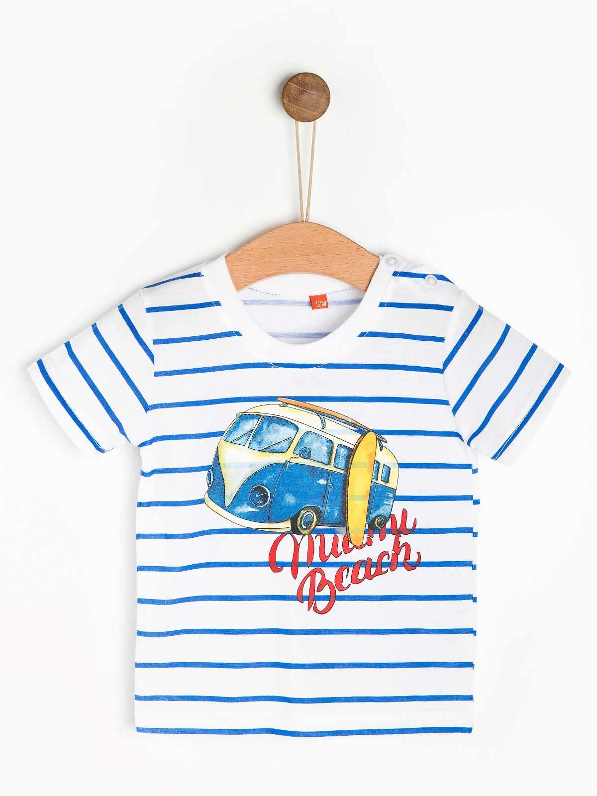T-shirt riscas estampada bebe