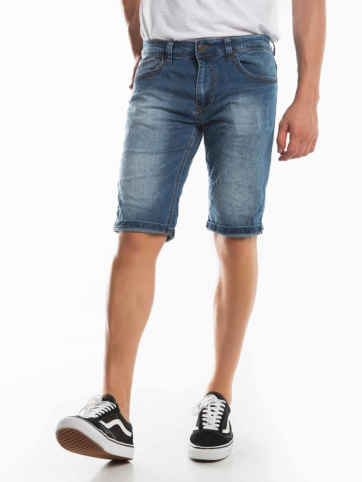 Pantalones cortos de mezclilla manchada
