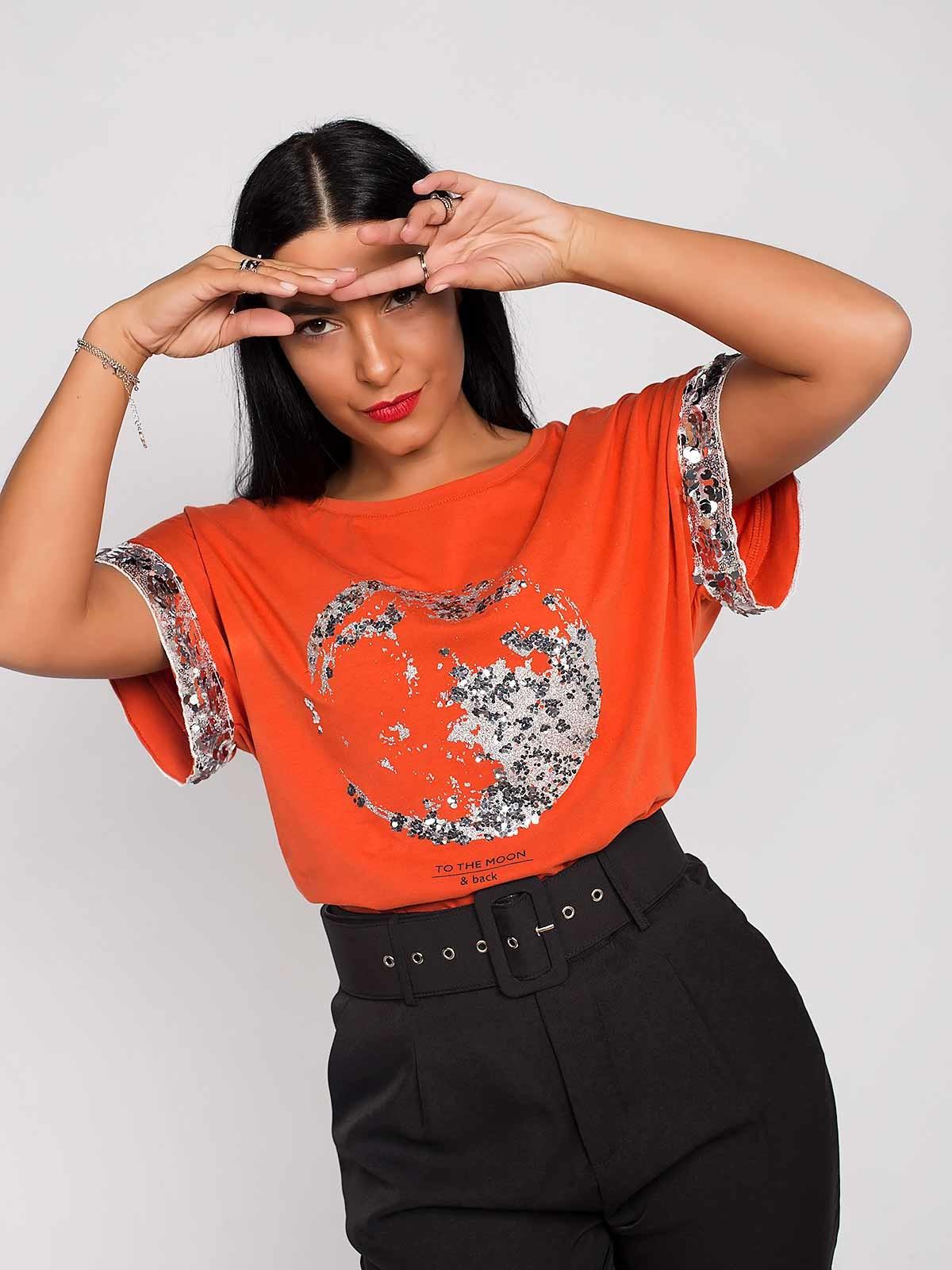 Camiseta de manga ancha con lentejuelas