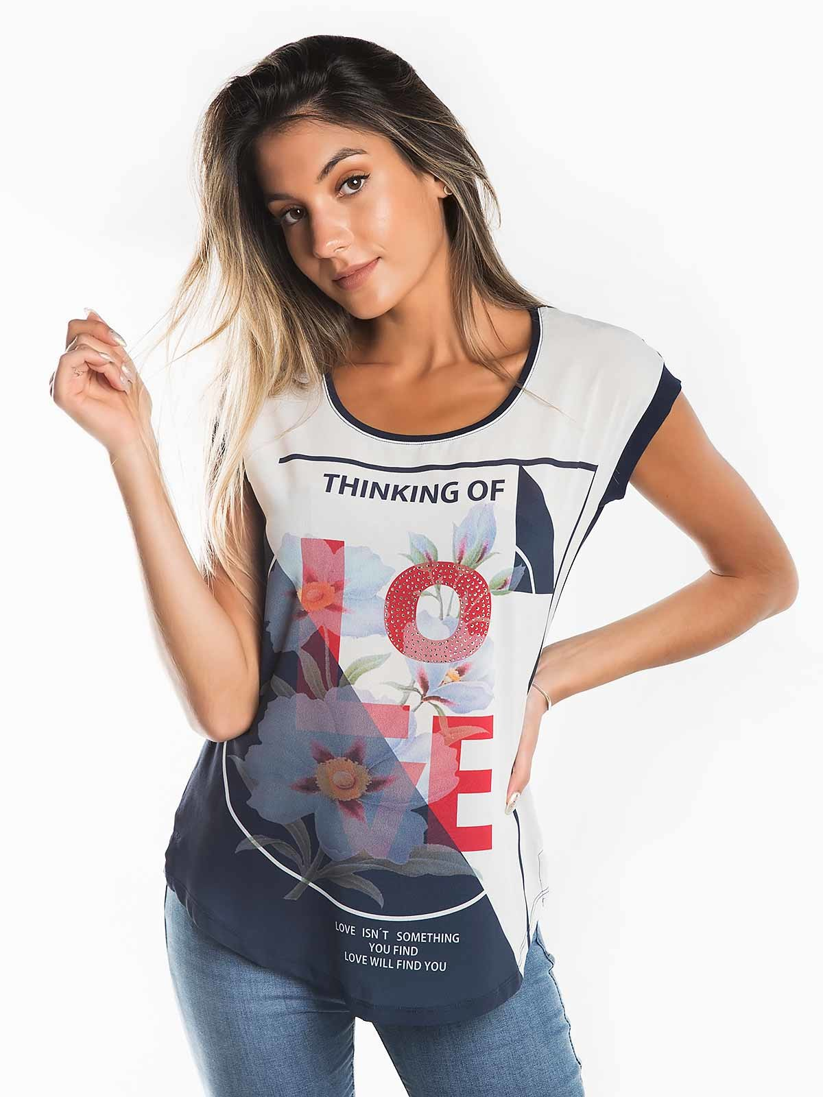 T-shirt com flores Thinking of Love