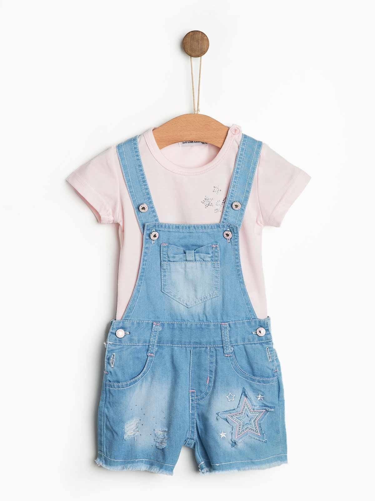 Conjunto bebé jardineira t-shirt