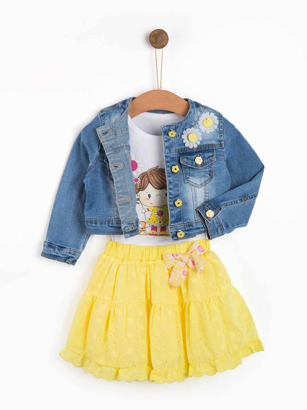 Conjunto de bebé Denim Flowers