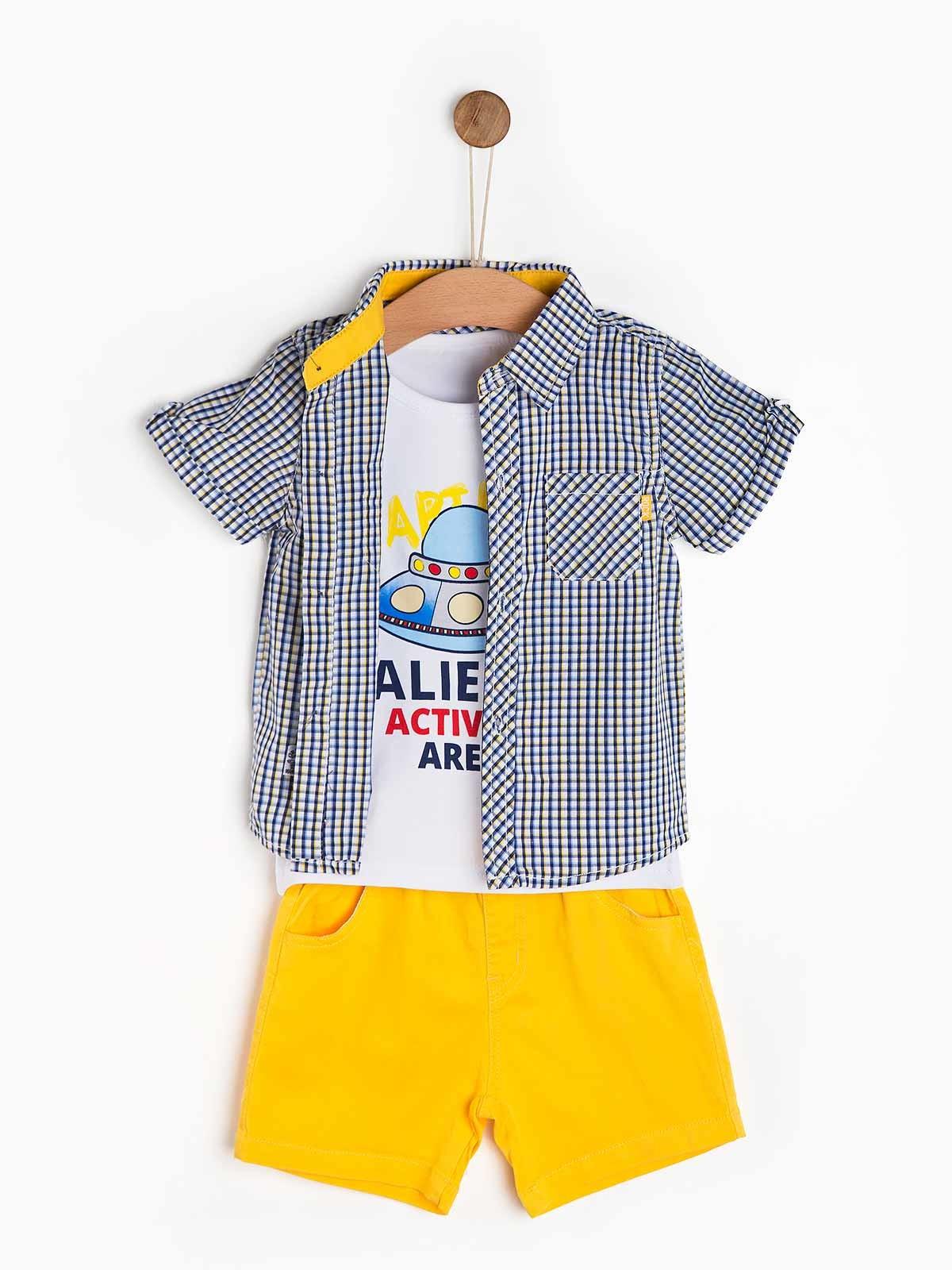 Conjunto de bebé camisa t-shirt calção