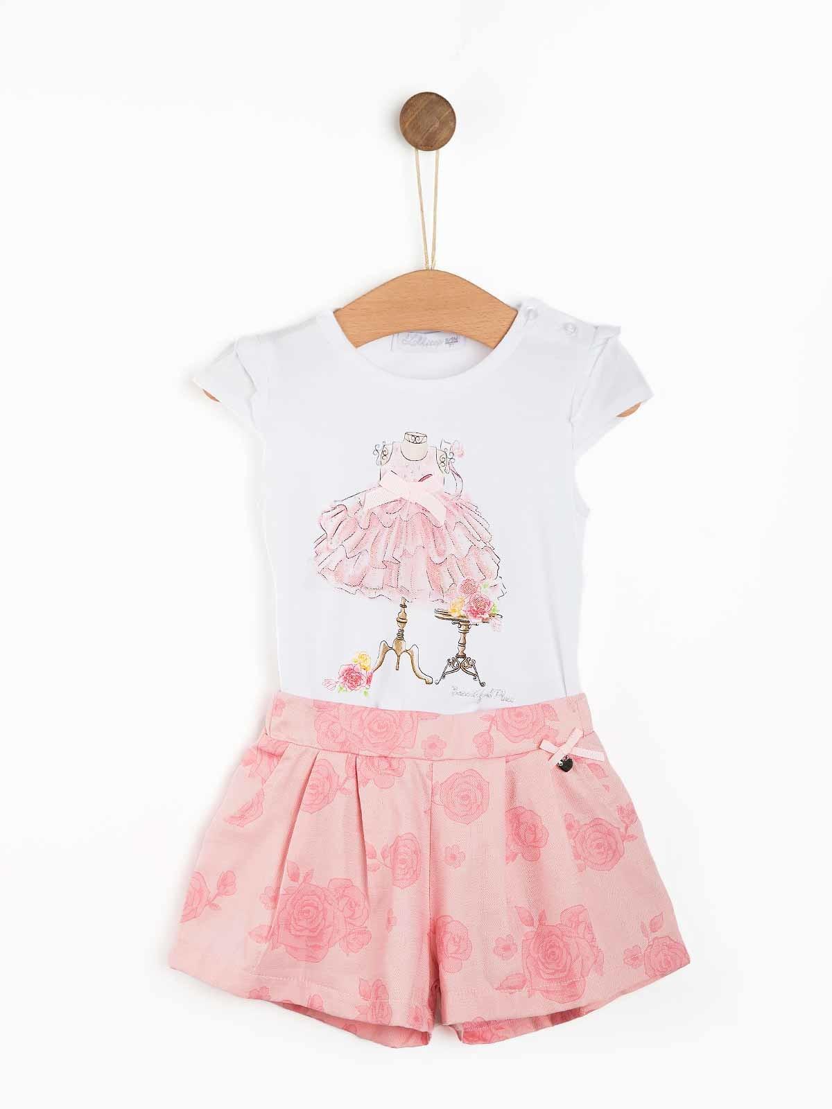 Conjunto bebé calção floral e t-shirt
