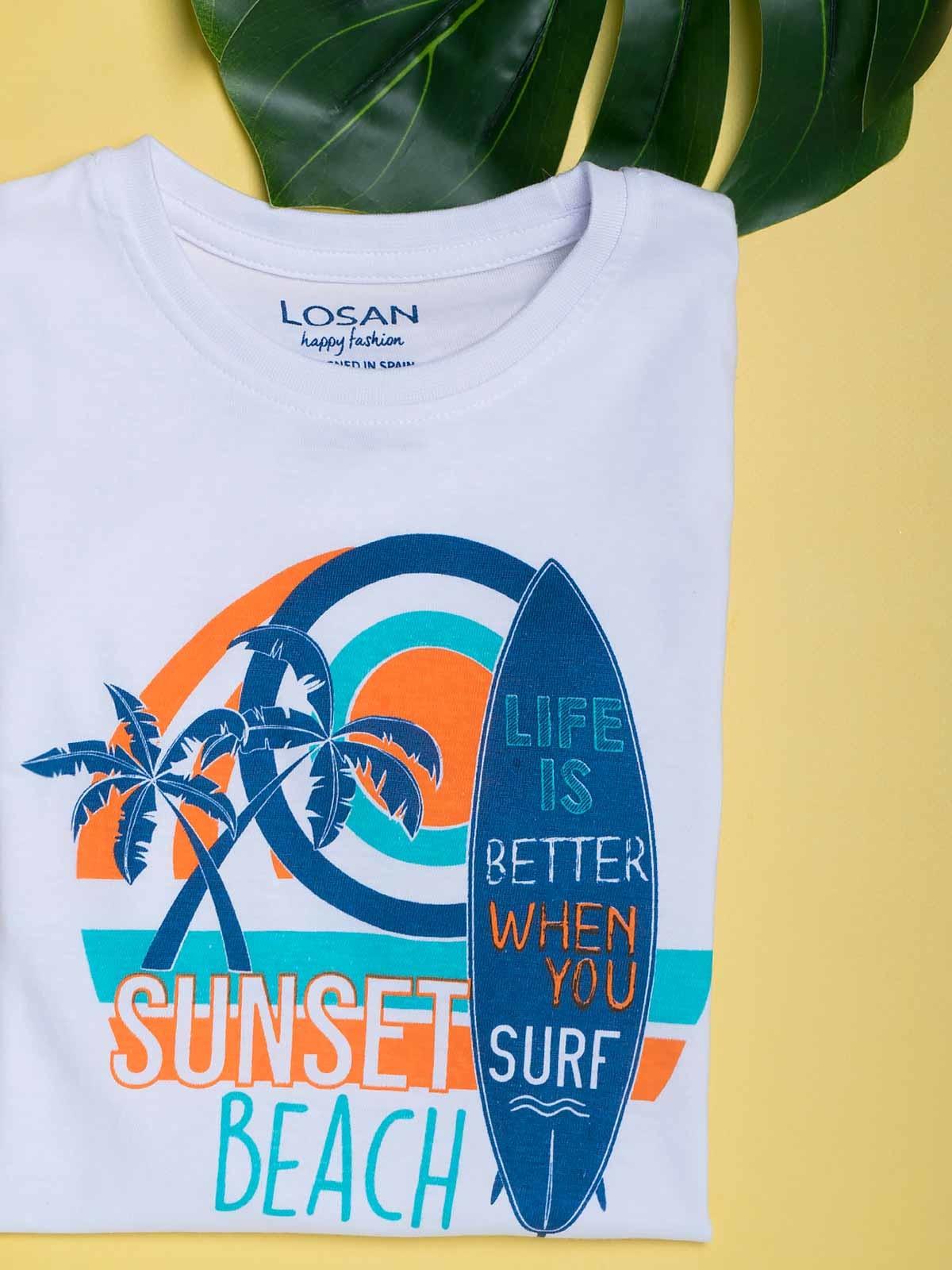 T-shirt manga curta Sunset Beach