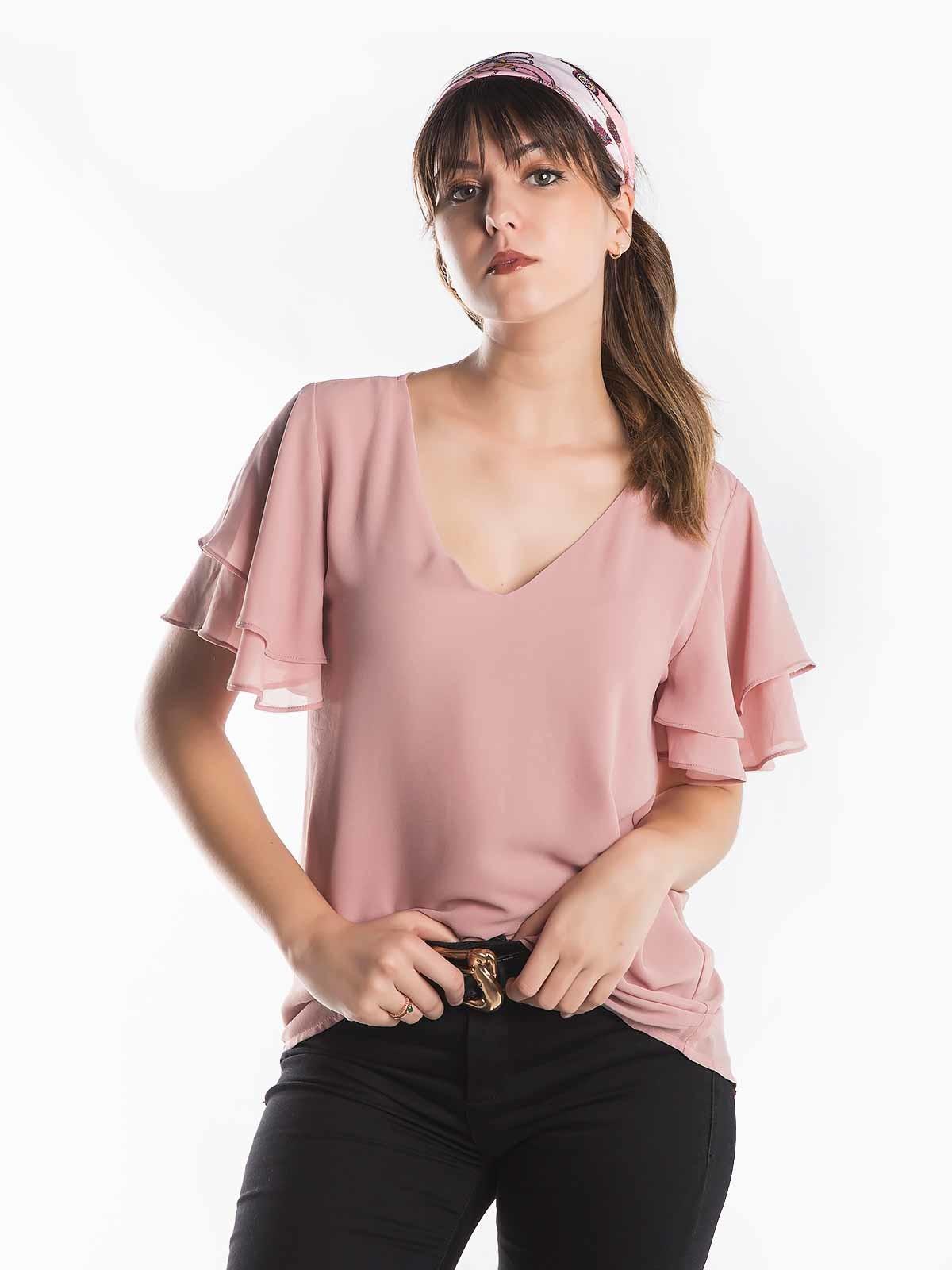 Blusa com folhos tecido duplo