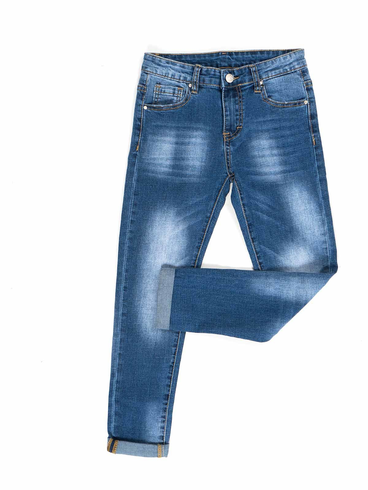 Calças ganga jeans retas manchadas