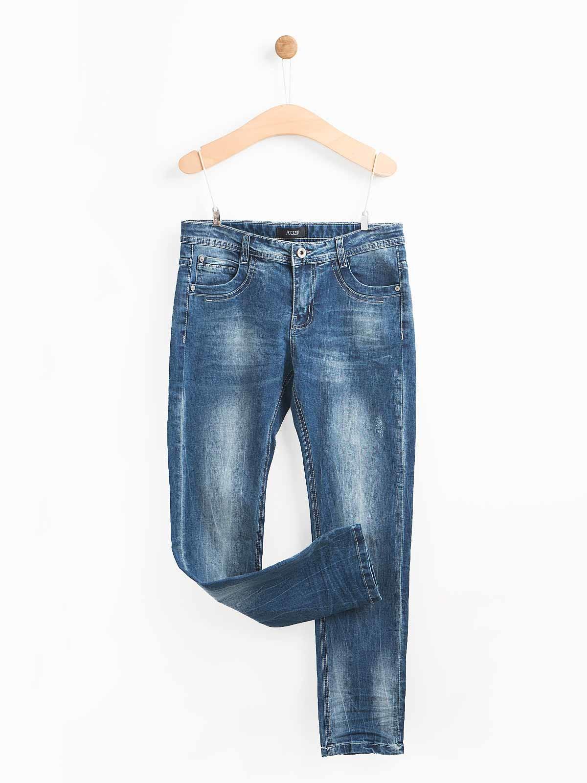 Calças de ganga manchadas rotos leves