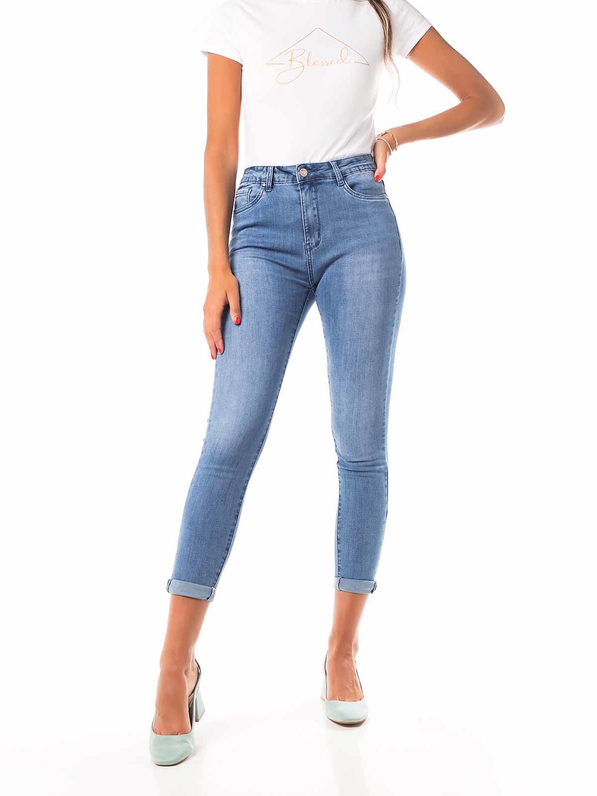 Calças de ganga skinny cintura subida